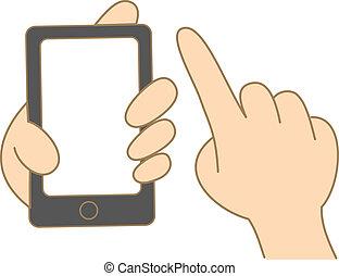 使用, モビール, スクリーン, 手, 電話, 感触, 漫画, 把握, 図画