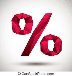 使用, 作られた, アイコン, 現代, パーセント, 赤, 幾何学的, 3d, 最も良く, スタイル