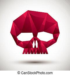 使用, 作られた, アイコン, 現代, 最も良く, スカル, 幾何学的, 3d, 赤, スタイル