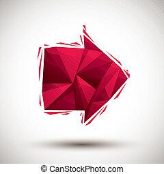 使用, 作られた, アイコン, 現代, 赤い矢印, 幾何学的, 3d, 最も良く, スタイル