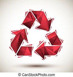 使用, 作られた, アイコン, 現代, 赤, リサイクルしなさい, 幾何学的, 3d, 最も良く, スタイル