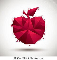 使用, 作られた, アップル, アイコン, 現代, 赤, 幾何学的, 3d, 最も良く, スタイル