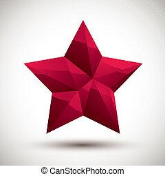 使用, 作られた, 星, アイコン, 現代, 赤, 幾何学的, 3d, 最も良く, スタイル