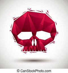 使用, 作られた, 頭骨, 現代, 赤, アイコン, 幾何学的, 3d, 最も良く, スタイル