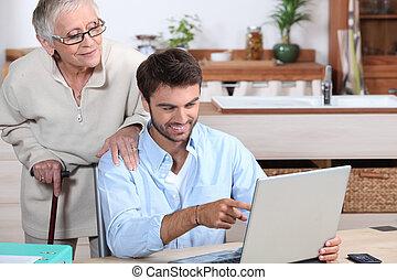 使用, 古い, 提示, いかに, コンピュータ, 女性, 人