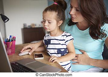 使用, 娘, 提示, いかに, コンピュータ, 母