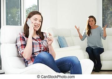 使用, 娘, 論争, 上に, 電話, モビール, 母
