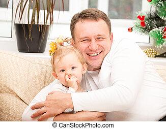使用, 概念, 家族, バックグラウンド。, 白, 父, 隔離された, 抱き合う, 赤ん坊, 子育て, 笑う 子供, それ, 女の子, ∥あるいは∥, 幸せ