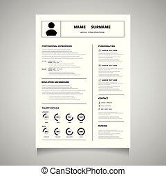 使用, 現代, 形態, 履歴書, 色, love., 仕事, 黒, 缶, vector., 適用されなさい, あなた, cv