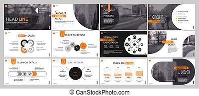 使用, 要素, 広告, マーケティング, また, フライヤ, レポート, banner., プレゼンテーション, バックグラウンド。, スライド, 企業である, パンフレット, 年報, オレンジ, 白, プレゼンテーション, template.