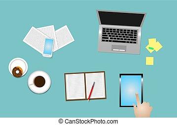 使用, 辦公室, 片劑, 書桌