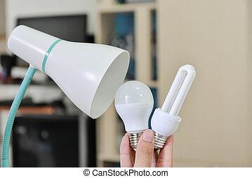 使用, 選択, リードした, ランプ, -, エネルギー, いかに, ランプ, 概念, 選り抜き, インストールしなさい, 変化する, セービング, 電球