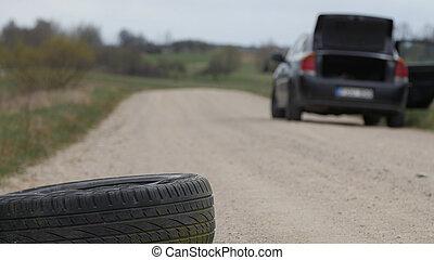使用, pollution., 輪胎, 自然, roadside., eliminated