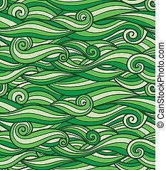 使用, seamless, パターン, ベクトル, 緑, 手ざわり, 波, 準備ができた, 草