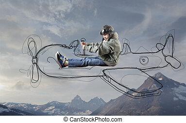 例証された, 男の子, 飛行機