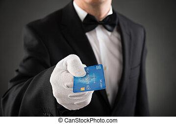 侍者, 給, 卡片, 信用