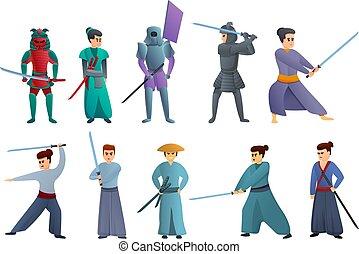 侍, アイコン, スタイル, セット, 漫画
