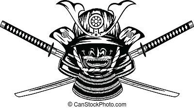 侍, katanas, 交差させる, ヘルメット