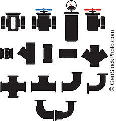 供水, 系統, 元素, 矢量, collection., 被隔离, 在懷特上