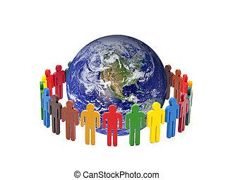 供給された, のまわり, 人々, 写真, 地球, nasa., バックグラウンド。, 地球, 白, カラフルである, 円
