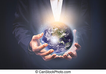 供給される, 保有物, 接続, これ, concept., ビジネスマン, nasa, 世界的である, 概念, エネルギー, 要素, イメージ, セービング, 地球