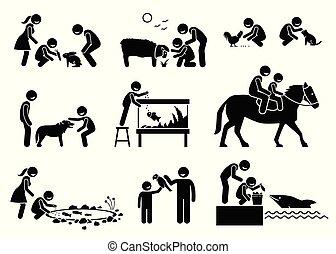 供給, 動物, 相互作用, 人々, 国内, cliparts