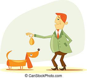 供給, 彼の, 犬, 人