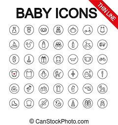 供給, 普遍的, editable, icons., おもちゃ, ライン。, 薄くなりなさい, vector., 赤ん坊, care.