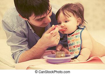 供給, 父, 赤ん坊, 家, 女の子, 幸せ