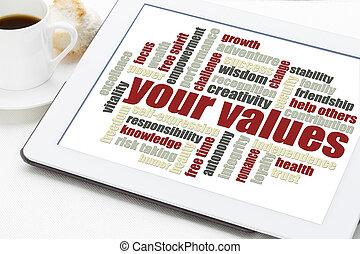 価値, 単語, あなたの, 雲