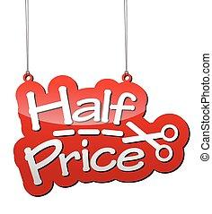 価格, ベクトル, 赤い背景, 半分