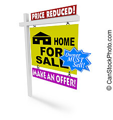 価格, -, 販売サイン, 家, 減らされる