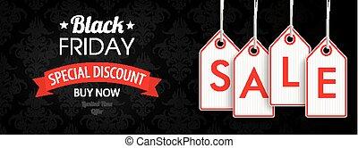 価格, 金曜日, セール, ヘッダー, 黒, 装飾, ステッカー
