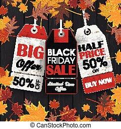 価格, 金曜日, 木, 黒い背景, ステッカー