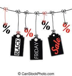価格, 金曜日, 3, 黒, 線, ステッカー, percents