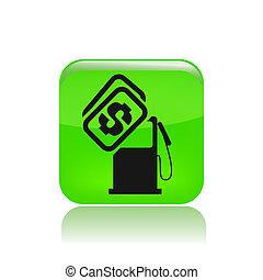 価格, 隔離された, イラスト, 単一, ベクトル, 燃料, アイコン