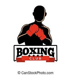 侧面影象, 俱乐部, 拳击, logotype, 运动员, 手套