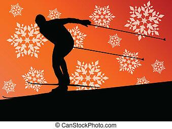 侧面影象, 冬季, 海报, 摘要, 年轻, 冰, 矢量, 描述, 背景, 滑雪, 活跃, 运动, 雪花, 人