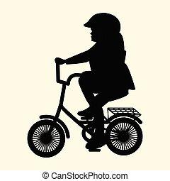 侧面影象, 在中, 小女孩, 在上, 小, 自行车头盔