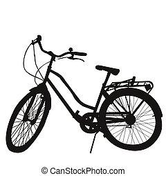 侧面影象, 在中, 自行车, 在怀特上, 背景