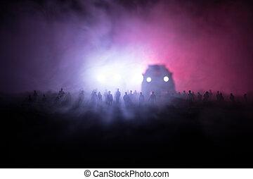 侧面影象, 在中, a, 人群, 站, 在, 领域, 在后面, the, 弄污, 有雾, 背景。, 革命, 人们, 抗议, 对, 政府, 人, 权力的战斗
