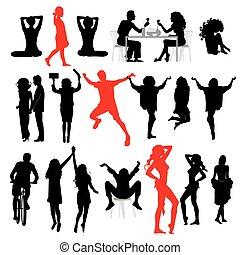 侧面影象, 在中, people:, 商业, 家庭, 运动, 方式, 爱