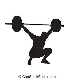 侧面影象, 大, 隔离, 矢量, barbell, weightlifter