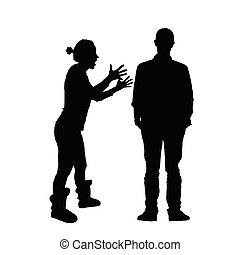 侧面影象, 夫妇, 描述, 各种各样, 黑色, 形成