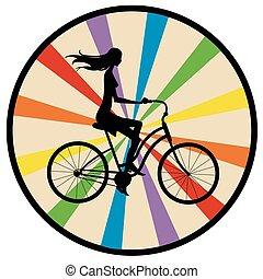 侧面影象, 女孩, 在上, 自行车