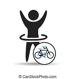 侧面影象, , 手, 设计, bycicle, 人, 图标