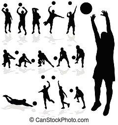 侧面影象, 排球表演者, 各种各样, 黑色, 形成