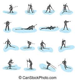侧面影象, 放置, grunge, 滑雪射击