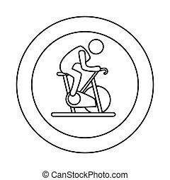侧面影象, 旋转, 自行车, 人, 边界, 轮廓, 圆