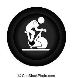 侧面影象, 旋转, 自行车, 单色, 人, 边界, 圆